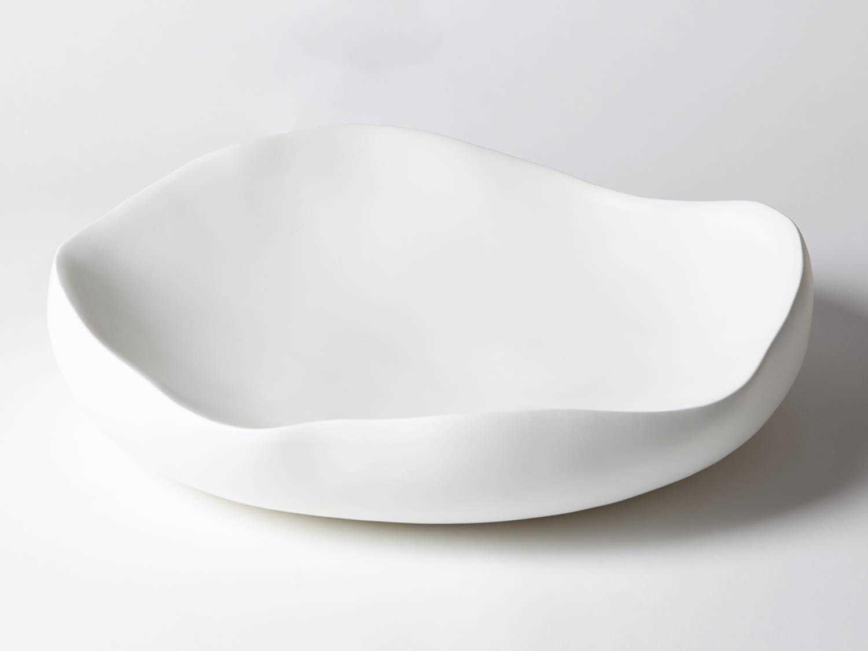 Global Views Organic Matte White Large Decorative Bowl