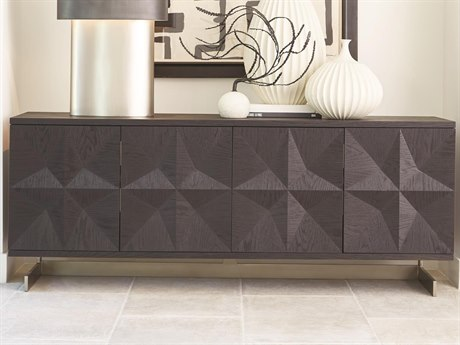 Global Views Light Wire Brush Black / Brushed Satin Nickel TV Stand GV720203