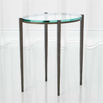 Global Views Petite Oval Natural Iron 17.75'' x 11.75'' Accent Table