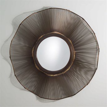 Global Views Prairie Bronze 46'' Round Wall Mirror