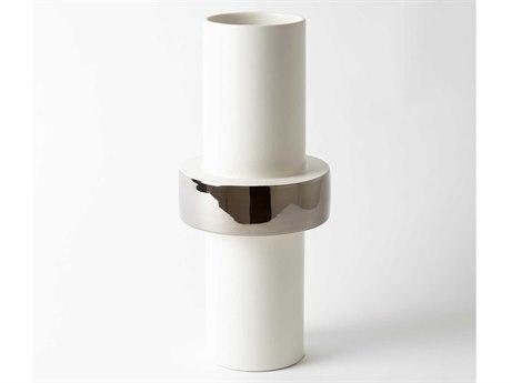 Global Views Mid Ring Silver Vase