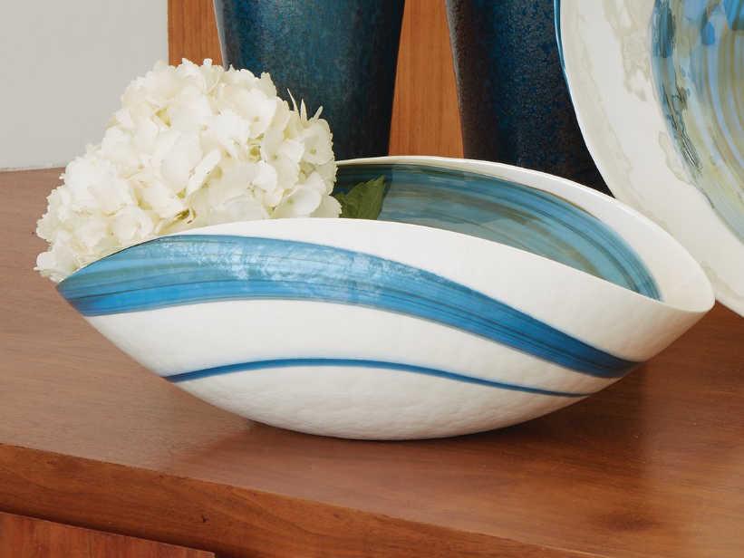Global Views Swirl Ocean Medium Decorative Bowl Gv331383