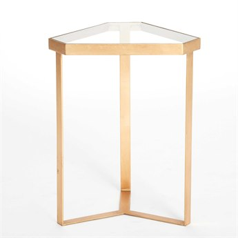 Global Views Tri-Hex Gold Leaf / Glass 16'' x 14'' Table