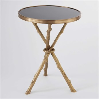 Global Views Twig Brass & Black Granite 16.5'' Round End Table GV880006