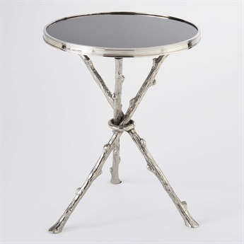 Global Views Twig Nickel & Black Granite 16.5'' Round End Table GV8977