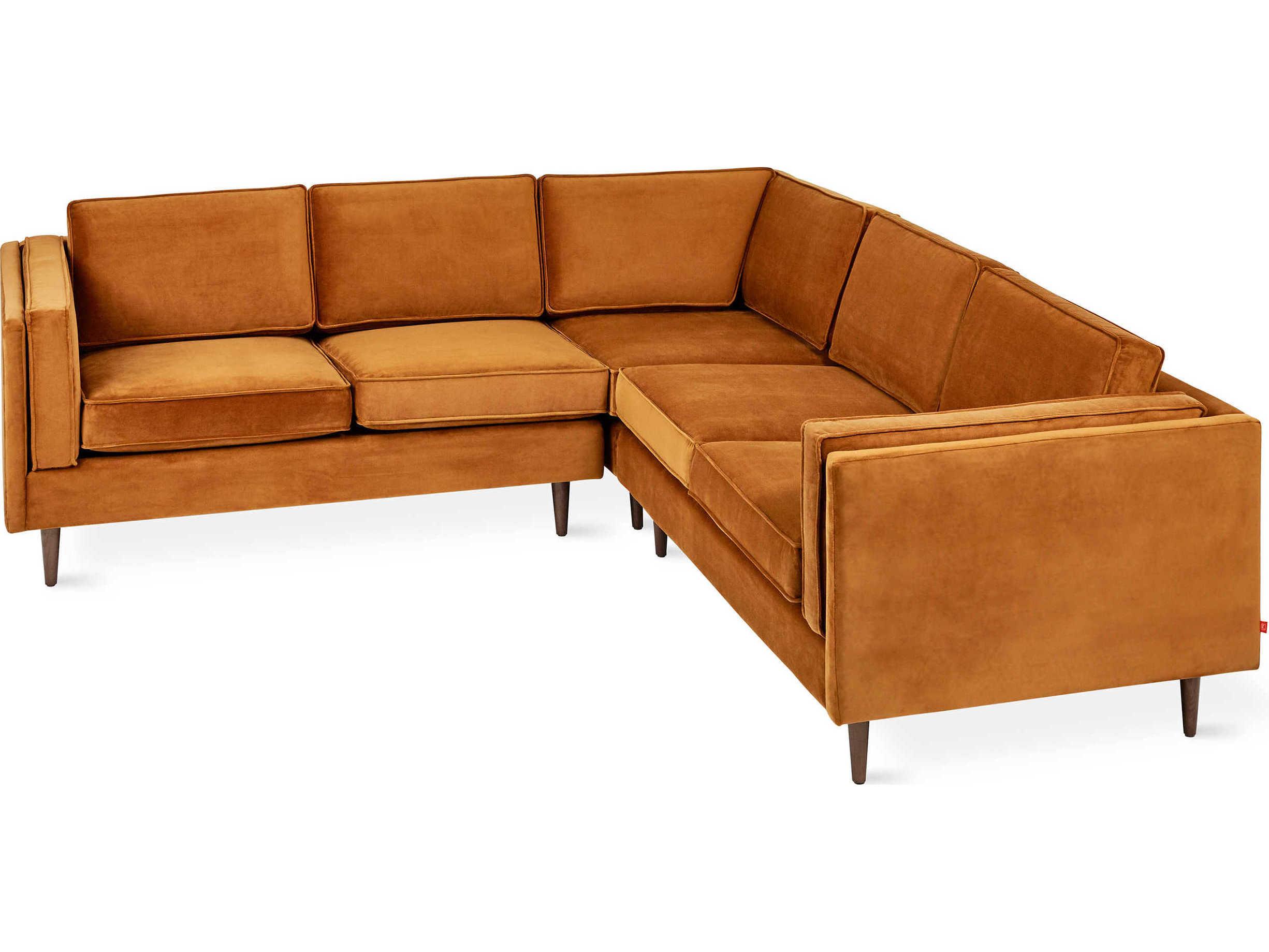 Adelaide Velvet Rust Sectional Sofa