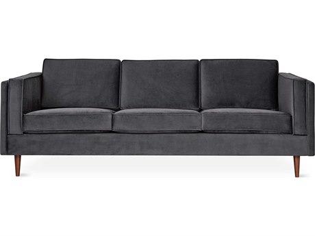 Gus* Modern Adelaide Velvet Mercury Sofa Couch GUMECSFADELVELMER