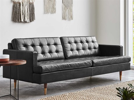 Gus* Modern Archer Saddle Black Sofa Couch GUMECSFARCRSADBLA