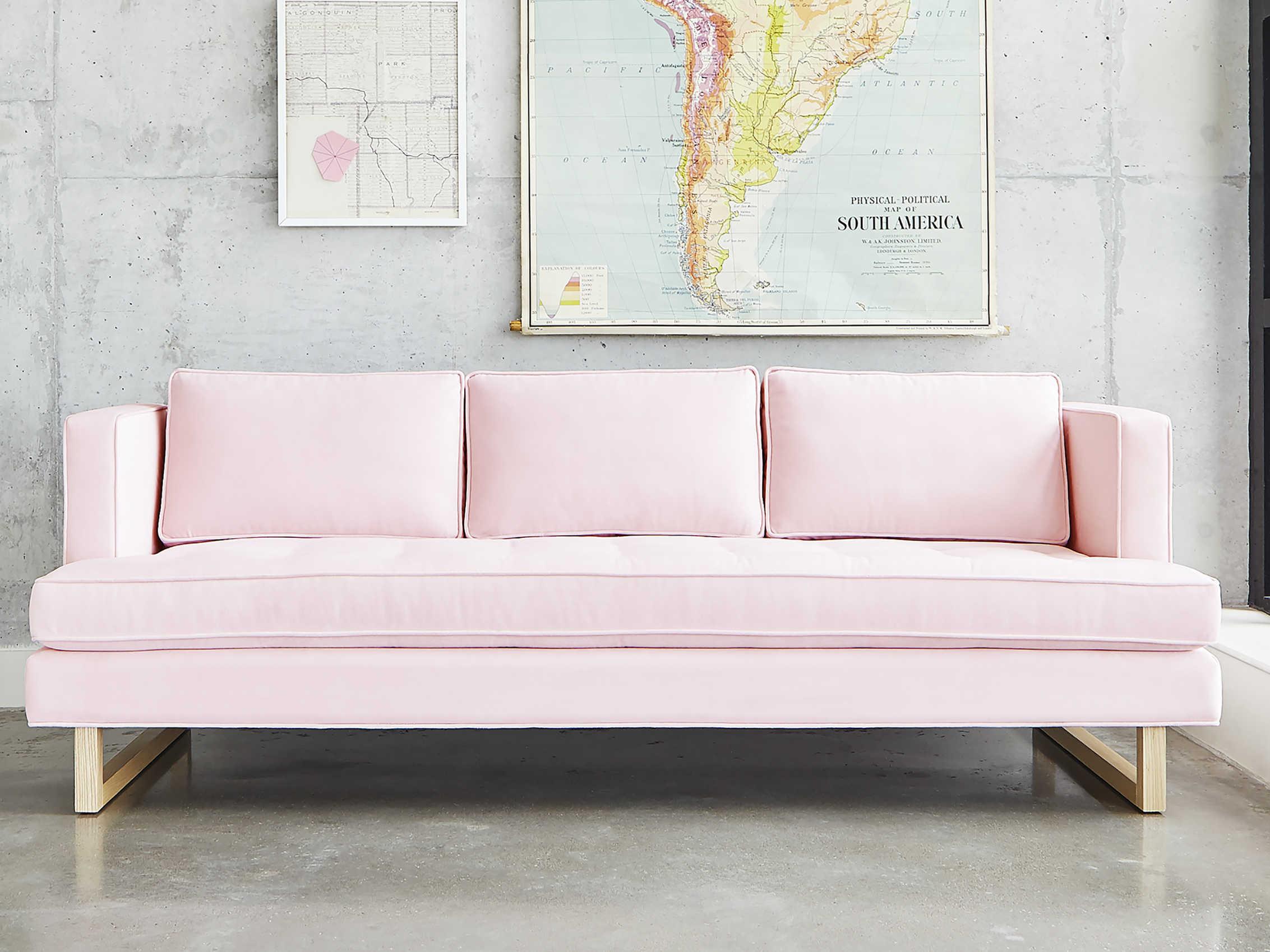 Fine Gus Modern Aubrey Velvet Blush Sofa Couch Creativecarmelina Interior Chair Design Creativecarmelinacom