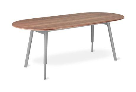 Gus* Modern Bracket Walnut / Grey 78'' Wide Oval Dining Table GUMECDNBRACGRWN