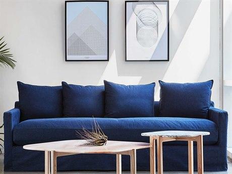 Gus* Modern Carmel Washed Denim Indigo Sofa Couch