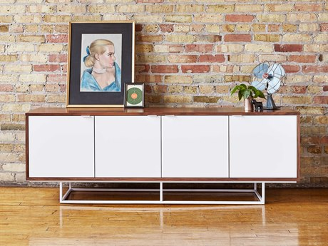 Gus* Modern Emerson Walnut / White TV Stand