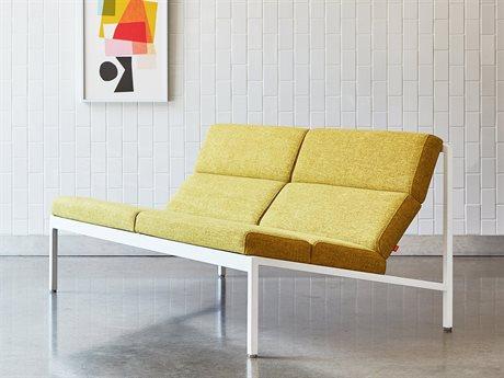 Gus* Modern Fogo Bayview Dandelion / White Loveseat Sofa