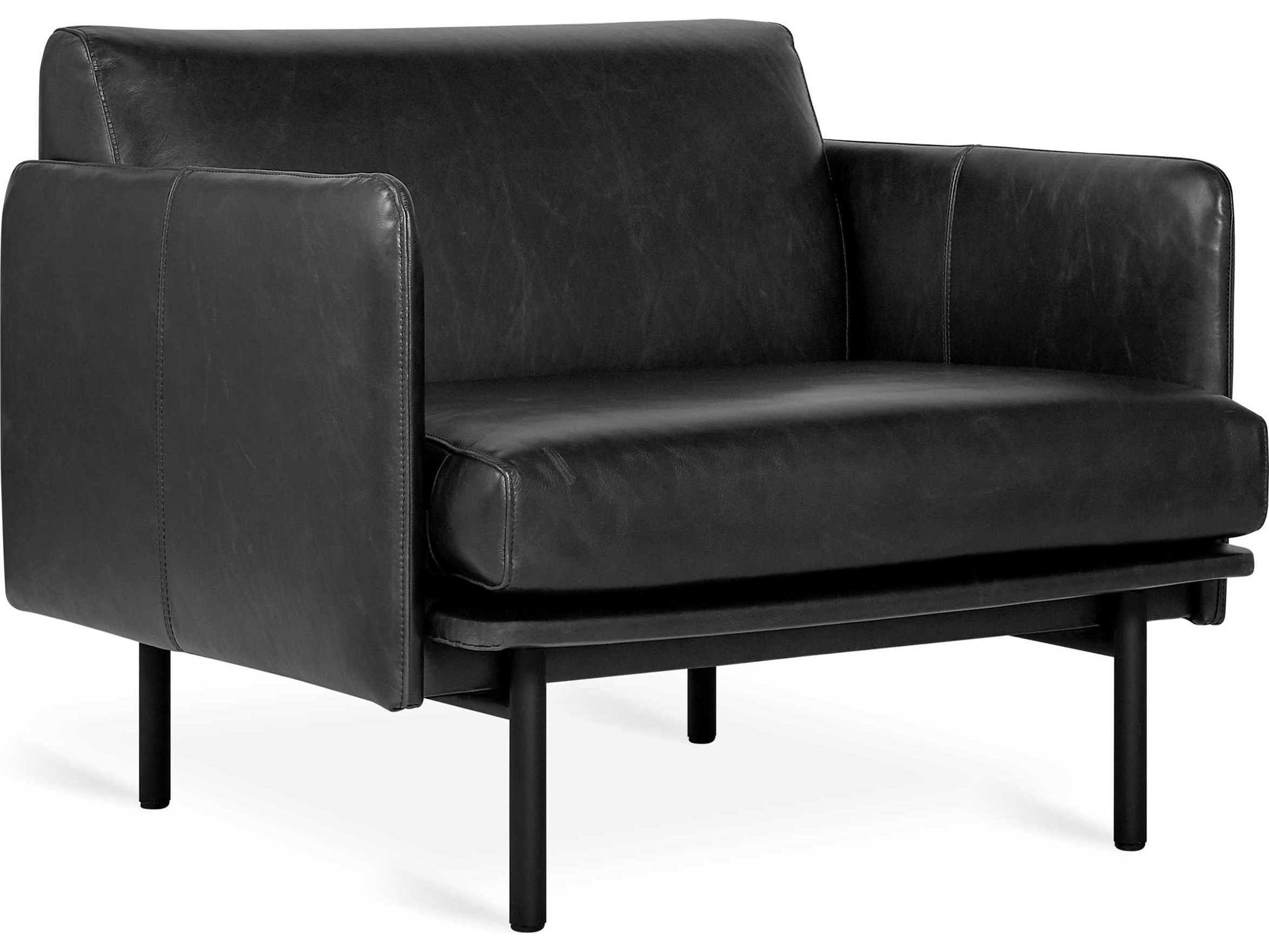 Gus Modern Foundry Saddle Black, Black Leather Accent Chairs For Living Room