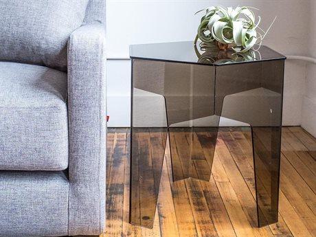Gus* Modern Hive Smoke Acrylic 18'' Wide Hexagon End Table