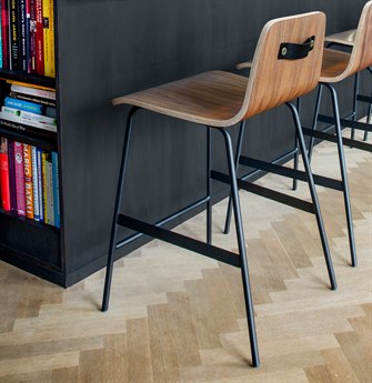 Gus* Modern Lecture Walnut / Black Side Counter Height Stool GUMECOTLECTWN
