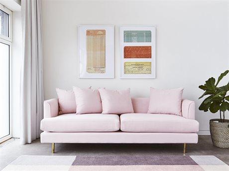 Gus* Modern Margot Velvet Blush Sofa Couch