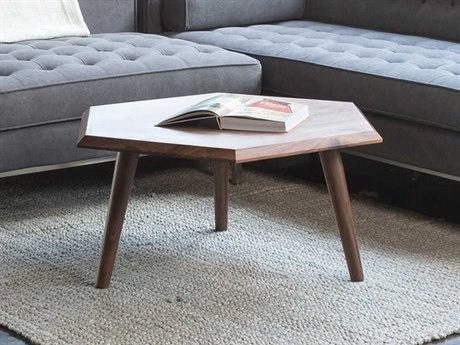 Gus* Modern Metric Walnut 31'' Wide Hexagon Coffee Table GUMECCTMETRWN