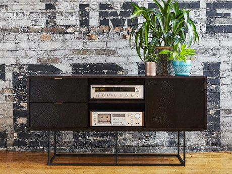 Gus* Modern Myles Black Oak TV Stand