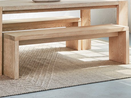 Gus* Modern Plank White Wash Accent Bench