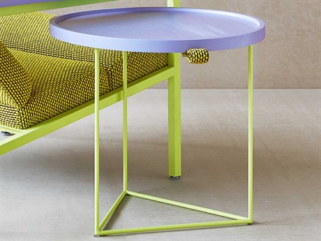 Gus* Modern Porter Violet 21'' Wide Round End Table GUMECCTPORTVIOCHAGP