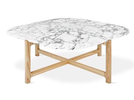 Gus* Modern Quarry Bianca Marble / Natural Ash 35'' Wide Square Coffee Table GUMECCTQUABIAMAR