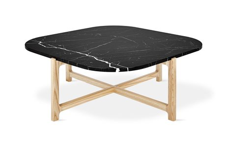 Gus* Modern Quarry Nero Marble / Natural Ash 35'' Wide Square Coffee Table GUMECCTQUANERMAR