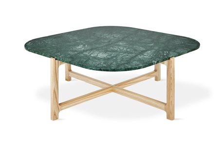Gus* Modern Quarry Verde Marble / Natural Ash 35'' Wide Square Coffee Table GUMECCTQUAVERMAR