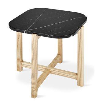 Gus* Modern Quarry Nero Marble / Natrual Ash 19'' Wide Square End Table GUMECETQUANERMAR