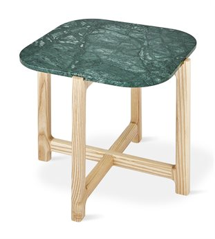 Gus* Modern Quarry Verde Marble / Natural Ash 19'' Wide Square End Table GUMECETQUAVERMAR