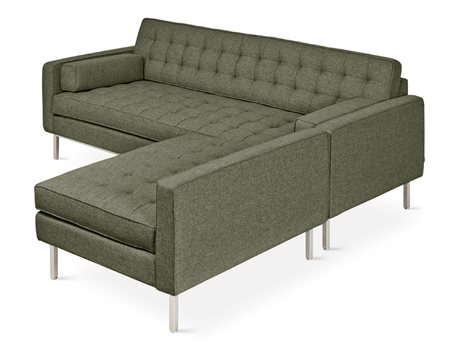 Gus* Modern Spencer Parliament Moss / Stainless Steel Sectional Sofa GUMECSCSPENPARMOS