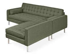 Spencer Parliament Moss / Stainless Steel Sectional Sofa