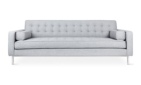 Gus* Modern Spencer Bayview Silver / Stainless Steel Sofa Couch GUMECSFSPENBAYSIL