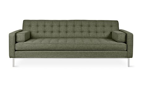 Gus* Modern Spencer Parliament Moss / Stainless Steel Sofa Couch GUMECSFSPENPARMOS