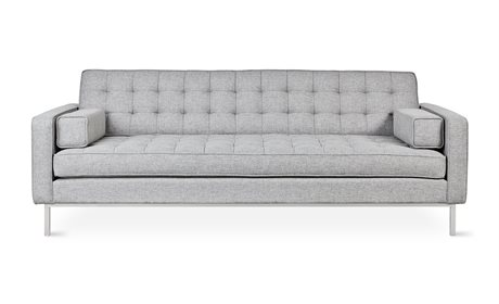 Gus* Modern Spencer Parliament Stone / Stainless Steel Sofa Couch GUMECSFSPENPARSTO