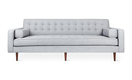 Gus* Modern Spencer Bayview Silver / Walnut Sofa Couch GUMECSFSPEWBAYSIL