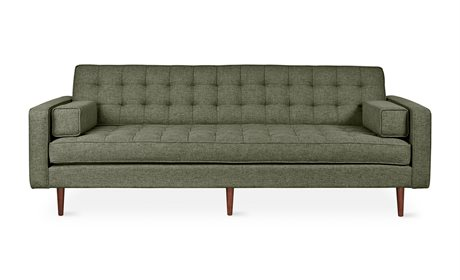 Gus* Modern Spencer Parliament Moss / Walnut Sofa Couch GUMECSFSPEWPARMOS