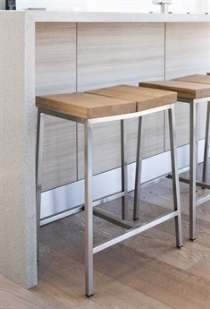 Gus* Modern Stanley Natural Ash / Stainless Steel Side Counter Height Stool GUMECOTSTANAN