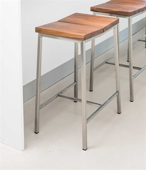 Gus* Modern Stanley Walnut / Stainless Steel Side Counter Height Stool GUMECOTSTANWN