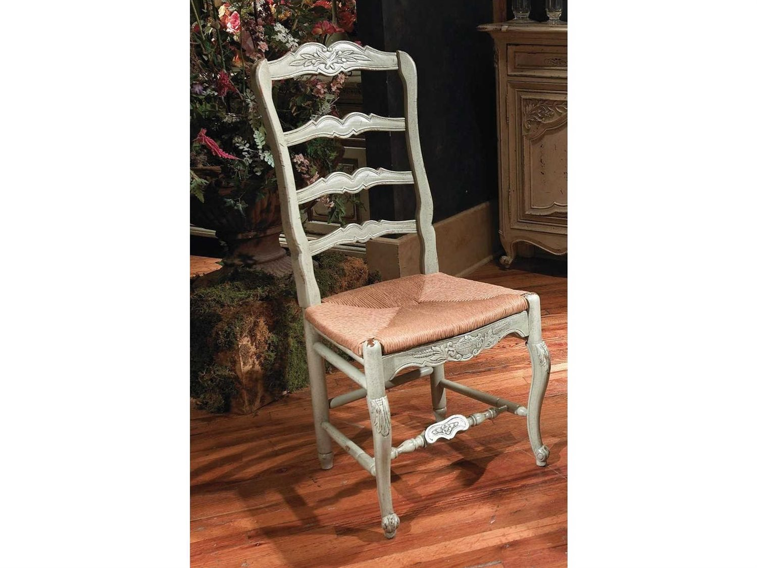 Habersham New Country French Dining Side Chair With Rush