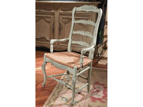 Habersham New Country French Dining Arm Chair with Rush Seat