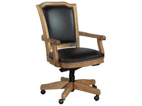 Hekman Leather Executive Black Wood Frame Black Office Chair HK79257B