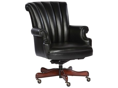 Hekman Office Executive Ribbed Back Leather Chair in Black HK79251B