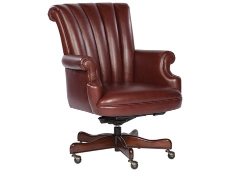 Hekman Office Executive Ribbed Back Leather Chair in Merlot HK79251M