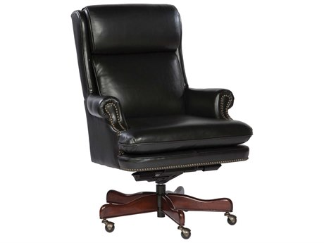 Hekman Office Executive Leather Chair with Brass Nailhead Trim in Black HK79252B