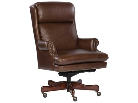 Hekman Office Executive Leather Chair with Brass Nailhead Trim in Coffee HK79252C