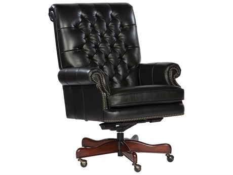 Hekman Office Executive Tufted Back Leather Chair in Black HK79253B