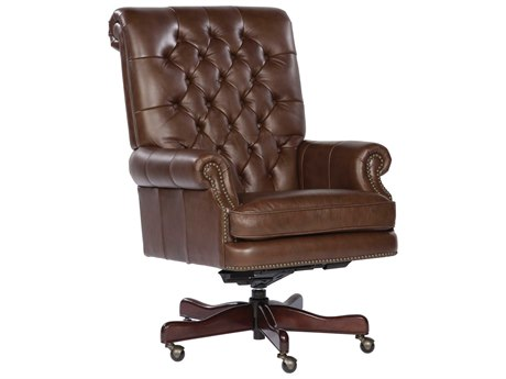 Hekman Office Executive Tufted Back Leather Chair in Coffee HK79253C