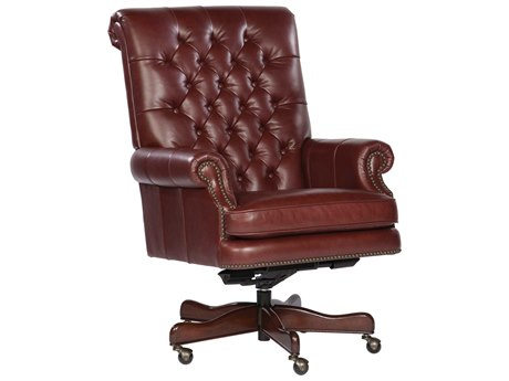 Hekman Office Executive Tufted Back Leather Chair in Merlot HK79253M