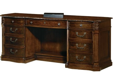 Hekman Office 72 x 24 Executive Credenza Desk in Old World Walnut Burl HK79161